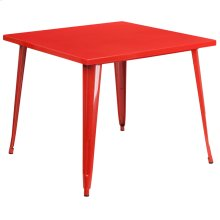 35.5'' Square Red Metal Indoor-Outdoor Table