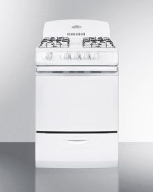 """24"""" Wide Gas Range In White With Electronic Ignition and High Backguard"""