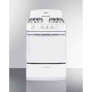 """Summit24"""" Wide Gas Range In White With Electronic Ignition and High Backguard"""