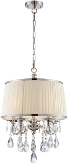 Pendant - Chrome/fabric Shade/crystals, E12 Type B 25wx5