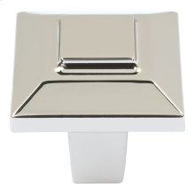 Trocadero Small Square Knob 1 Inch - Polished Nickel