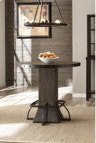 Jennings Round Counter Height Table - Distressed Walnut Wood / Brown Metal Product Image