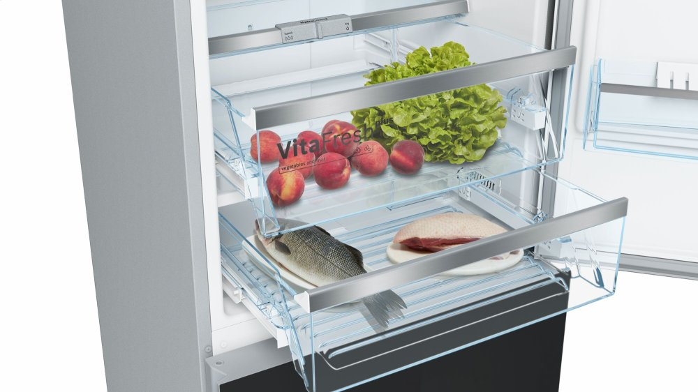 B10cb80nvbbosch 800 Series Free Standing Fridge Freezer Black Glass
