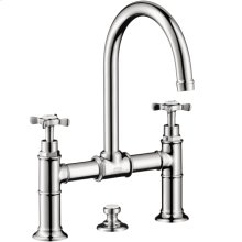 Chrome 2-handle basin mixer 220 with cross handles and pop-up waste set