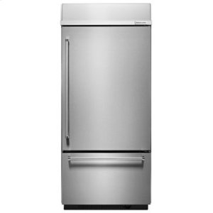 "KITCHENAIDBuilt-In Stainless Bottom Mount Refrigerator 20.9 Cu. Ft. 36"" Width - Stainless Steel"