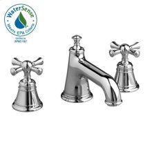 Low Spout Widespread Lavatory Set - Cross Handle - Polished Chrome