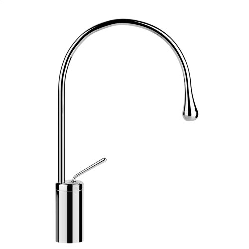 """Tall single lever washbasin mixer without pop-up assembly Spout projection 9-9/16"""" Height 17-1/4"""" Drain not included - See DRAINS section Max flow rate 1"""