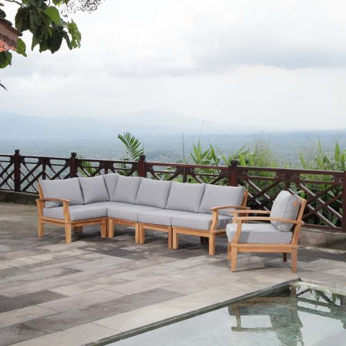 Marina 6 Piece Outdoor Patio Teak Set in Natural Gray
