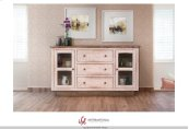 3 Drawers, 2 doors Console - White Finish