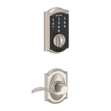 Schlage Touch Keyless Touchscreen Deadbolt with Camelot trim paired with Accent Lever with Camelot trim - Satin Nickel
