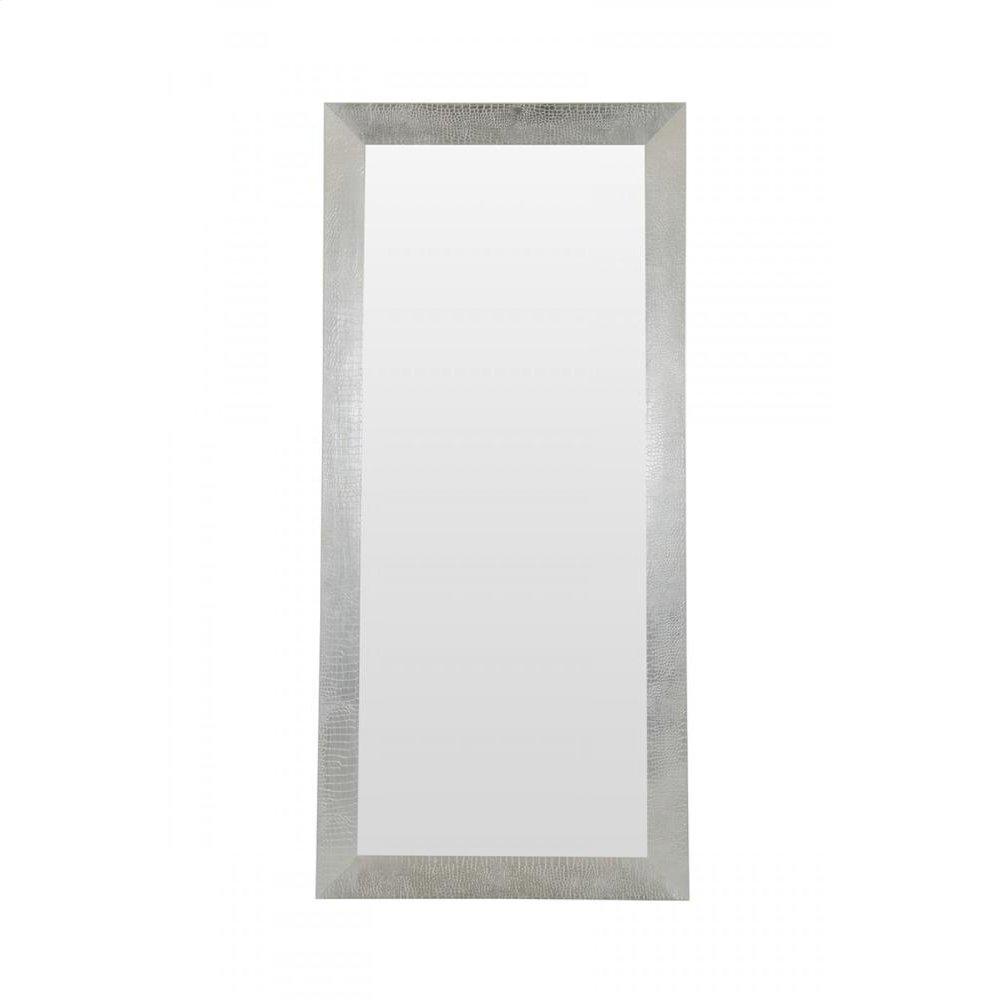A&X Regal Modern Silver Crocodile Floor Mirror