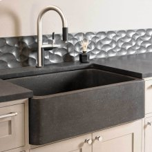 "Polished & Honed Front Farmhouse Sinks 33"" Width / Honed Noce Basalt"