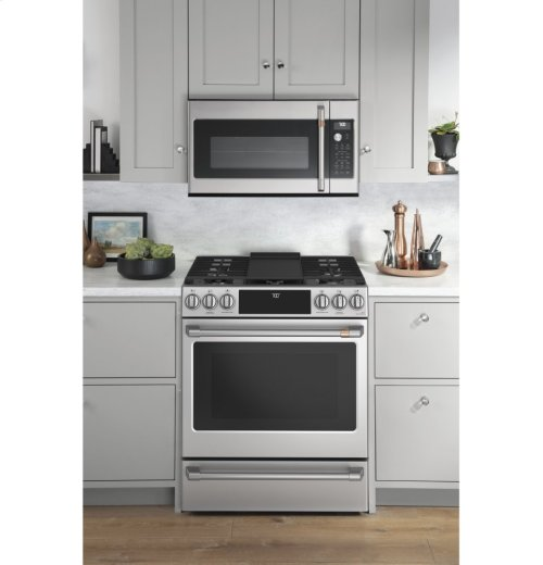 """Café 30"""" Slide-In Front Control Gas Oven with Convection Range"""