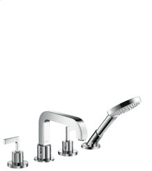 Chrome 4-hole rim mounted bath mixer with lever handles and escutcheons