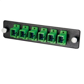 Q-Series™ 6-Strand, SC, Zirconia Insert, SM, APC, Green SC Adapter Panel