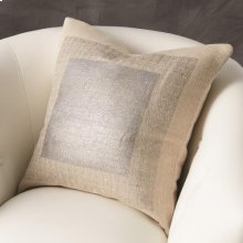 Square Printed Jute Pillow-Silver