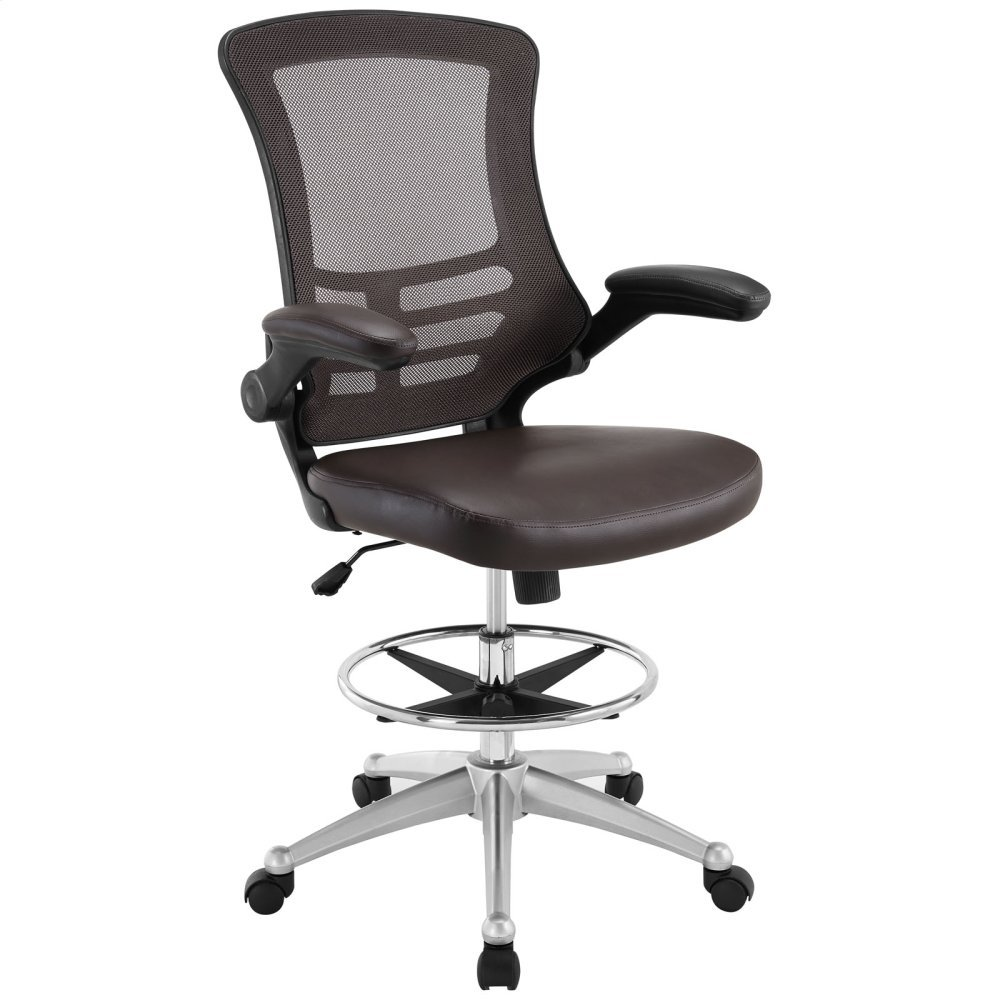 Attainment Vinyl Drafting Chair in Brown
