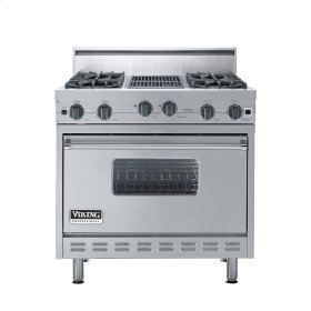 """Stainless Steel 36"""" Open Burner Range - VGIC (36"""" wide, four burners 12"""" wide char-grill)"""