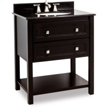 """31-1/2"""" vanity with sleek black finish and clean lines, and complementary satin nickel hardware with preassembled top and bowl"""