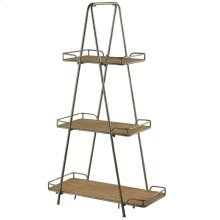 Tucker  32in X 15in X 56in  3 Tier Apex Display Unit Made of Metal in a Gray Powder Coat Finish. T