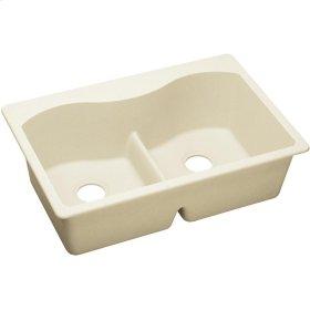"""Elkay Quartz Luxe 33"""" x 22"""" x 9-1/2"""", Equal Double Bowl Top Mount Sink with Aqua Divide, Parchment"""