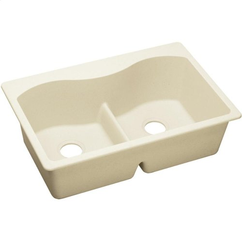 "Elkay Quartz Luxe 33"" x 22"" x 9-1/2"", Equal Double Bowl Drop-in Sink with Aqua Divide"