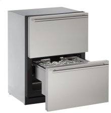 "Modular 3000 Series 24"" Solid Refrigerator Drawers With Stainless Solid Finish and Drawers Door Swing"