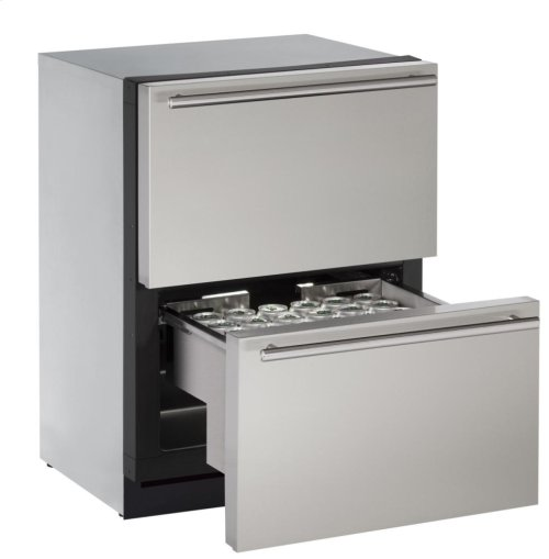 """Modular 3000 Series 24"""" Solid Refrigerator Drawers With Stainless Solid Finish and Drawers Door Swing"""