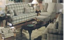 High Back Sofa with Cherry Chippendale Base