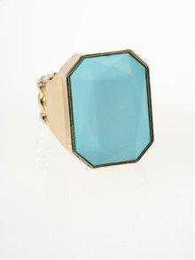 BTQ Light Blue Faceted Ring