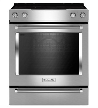 KitchenAid(R) 30-Inch 5-Element Electric Convection Front Control Range - Stainless Steel