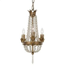 Mini Vintage Chandelier With Frosted White Crystals