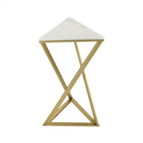 En Garde Gold Plated Metal Accent Table with Genuine White Marble Top