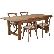 7' x 40'' Antique Rustic Folding Farm Table Set with 4 Cross Back Chairs and Cushions