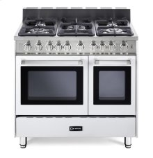 """36"""" Gas Double Oven Range White 4"""" B/G"""