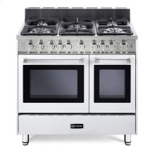 """White 36"""" Gas Range with Double Oven"""