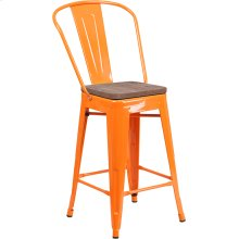"""24"""" High Orange Metal Counter Height Stool with Back and Wood Seat"""