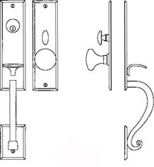 """Additional Entrance Handle Set - Complete single cylinder set for 2 1/4"""" door"""