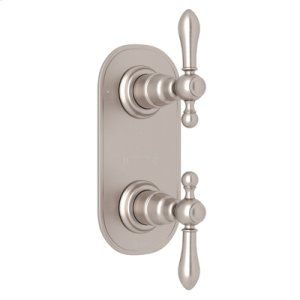 """Satin Nickel Arcana Trim For 1/2"""" Thermostatic/Diverter Control Rough Valve with Arcana Cross Handle"""