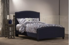 Kerstein Bed Set - King - Rails Included - Navy Linen