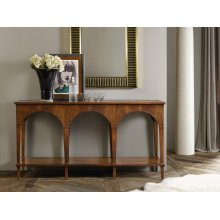 Triple Classical Console With Shelf, Feathered Walnut Veneer.