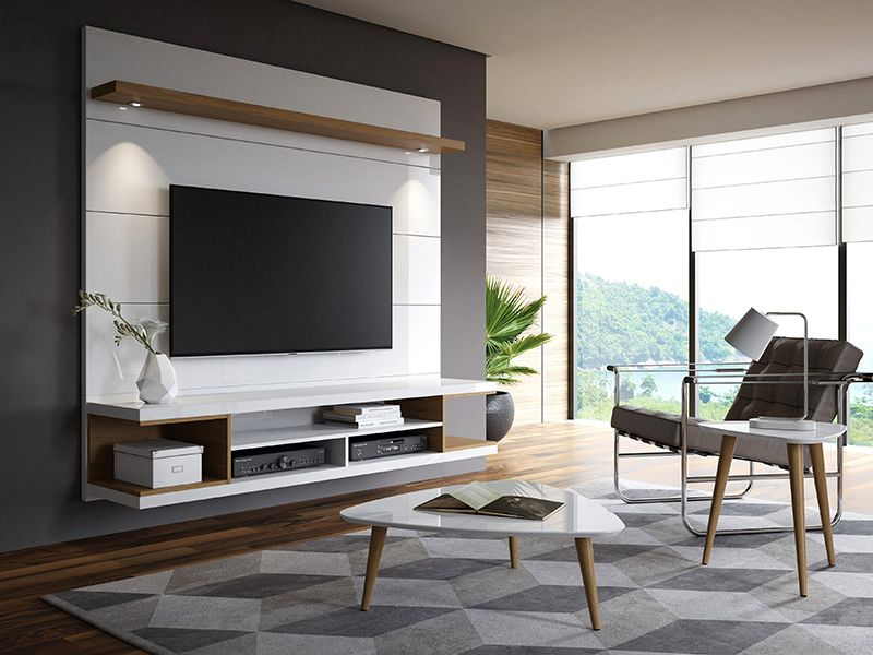 """Utopia 70"""" Floating Theater Entertainment Center with Led Lights in Off White and Maple Cream"""