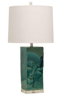 VL310561  Ceramic Table Lamp on Acrylic Base with White Linen Shade