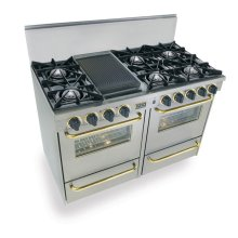 "48"" All Gas Range, Open Burners, Stainless Steel with Brass Trim"