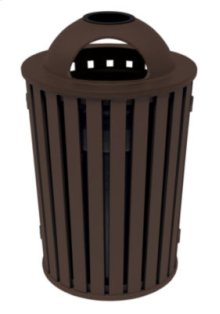 District Round Waste Receptacle with Dome Hood and Ash Urn, Slat