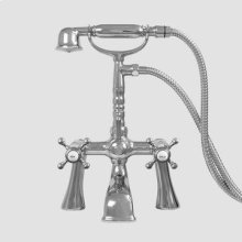 Butler Mill Deck Mount Telephone Tub Filler - Flared Legs with St. Michel Handle