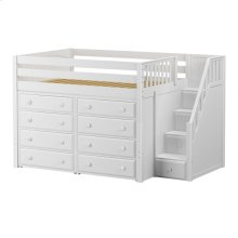 Mid Loft w/ Staircase on End & 2 x 4 Drawer Dressers : Full : White : Panel