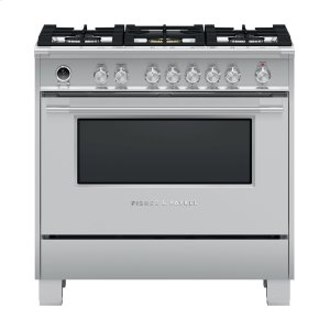 "Fisher & PaykelDual Fuel Range, 36"", 5 Burners, Self-cleaning"