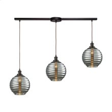 Ridley 3 Light Linear Bar Pendant in Oil Rubbed Bronze with Smoke Plated Beehive Glass
