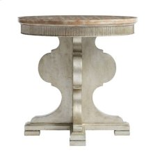 Juniper Dell Round Lamp Table in Tarnished Silver Leaf